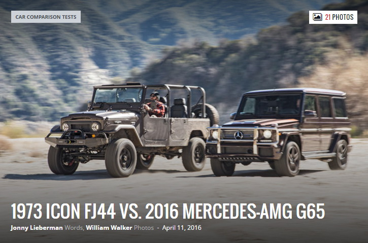 1973 Icon FJ44 vs. 2016 Mercedes AMG G65 Comparison Motor Trend