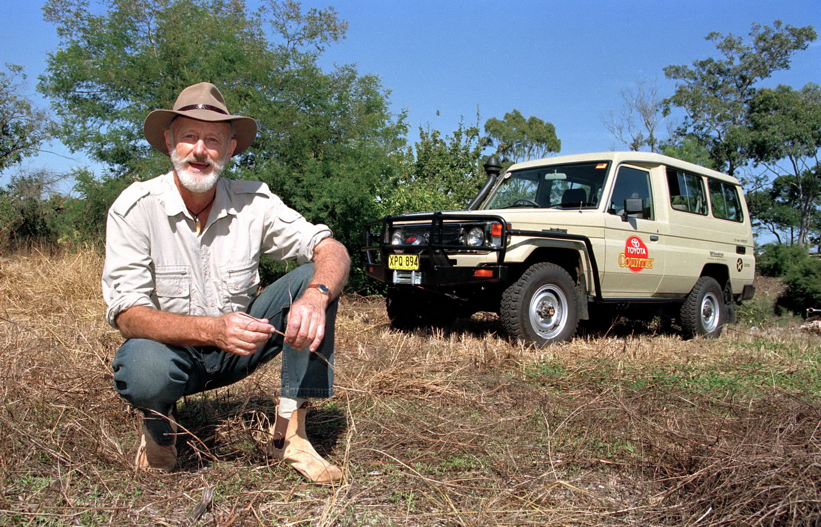 Malcolm Douglas and his 2002 Toyota LandCruiser 78 Series Troop Carrier. 020412-106-15A